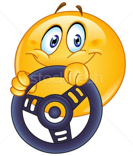 вождения смайлик руль автомобилей человека Сток-фото © yayayoyo