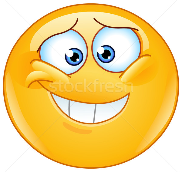 Megszégyenített emotikon boldog felirat jókedv fogak Stock fotó © yayayoyo
