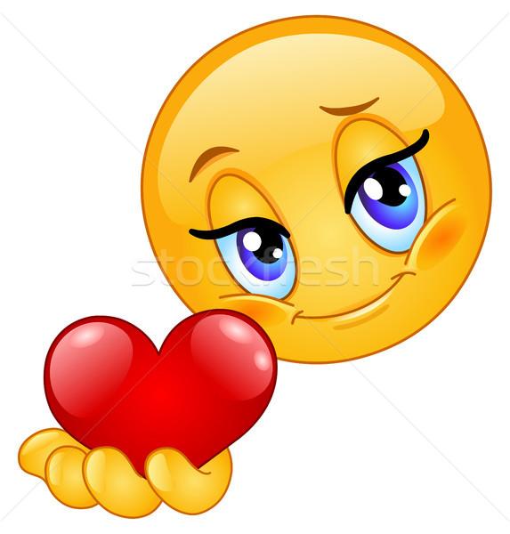 смайлик сердце девушки стороны дизайна мяча Сток-фото © yayayoyo