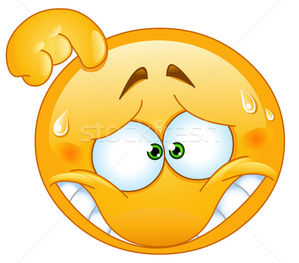 Megszégyenített emotikon felirat labda fogak vicces Stock fotó © yayayoyo