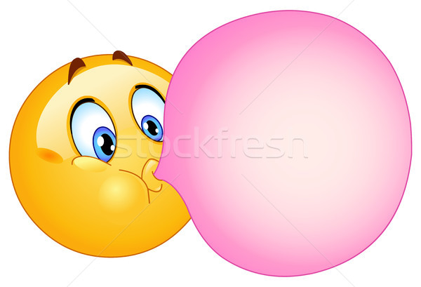 Bulle gomme sourire visage Photo stock © yayayoyo