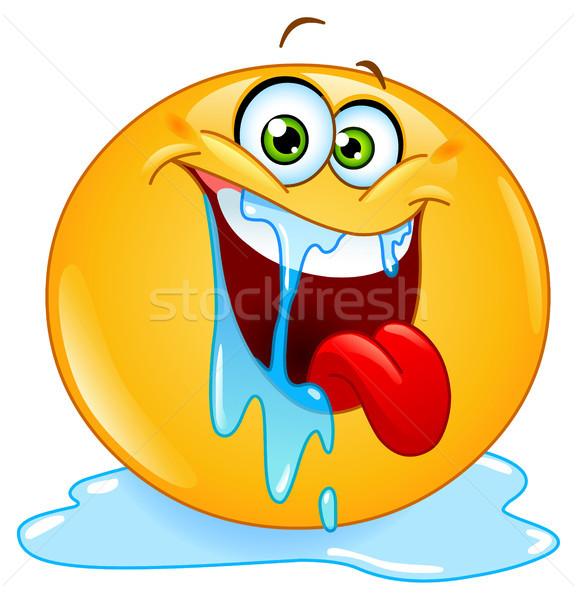 Emoticon water glimlach gelukkig teken leuk Stockfoto © yayayoyo