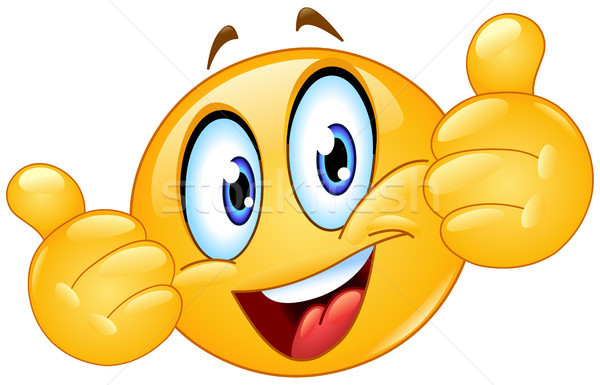 Emoticon tonen hand glimlach man Stockfoto © yayayoyo