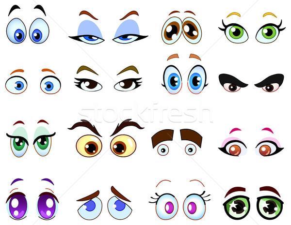 Cartoon глазах глаза набор человека счастливым Сток-фото © yayayoyo
