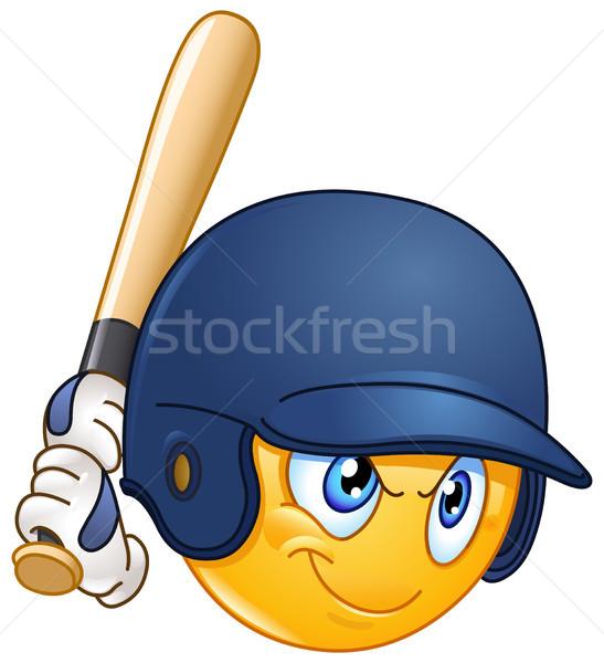 бейсбольной смайлик игрок улыбка человека весело Сток-фото © yayayoyo