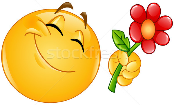 Emoticon bloem gelukkig vrouw liefde man Stockfoto © yayayoyo