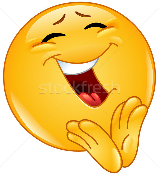 Clapping cheerful emoticon Stock photo © yayayoyo