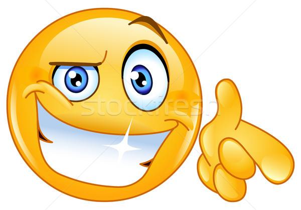 Cool смайлик указывая стороны улыбка человека Сток-фото © yayayoyo
