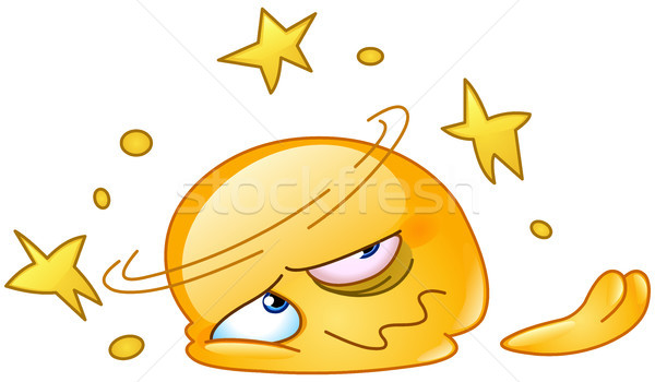 Dizzy and squashed emoticon Stock photo © yayayoyo