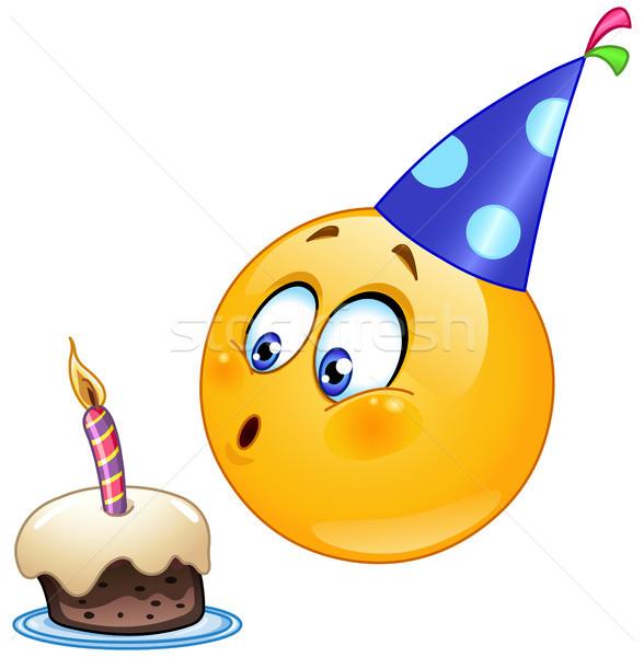 рождения смайлик торт свечу улыбка Сток-фото © yayayoyo