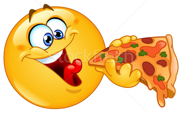 Emoticon Essen Pizza Hand Gesicht Design Stock foto © yayayoyo