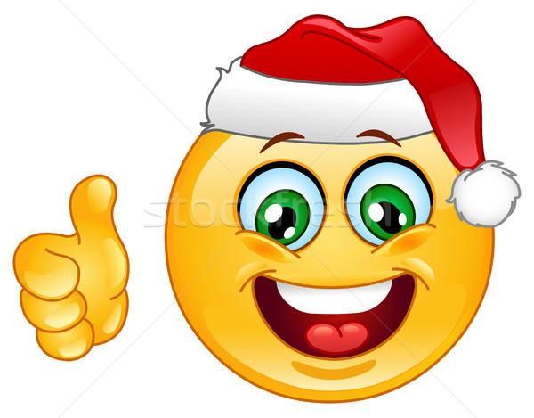 Christmas emoticon duim omhoog hand teken Stockfoto © yayayoyo