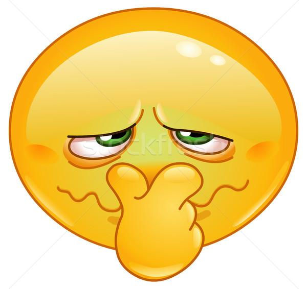 Schlecht Geruch Emoticon halten Nase Gesicht Stock foto © yayayoyo