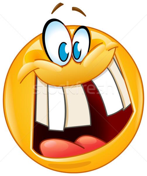 crazy smile emoticon Stock photo © yayayoyo
