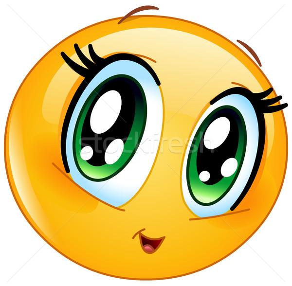 Cute Манга девушки смайлик лице любви Сток-фото © yayayoyo