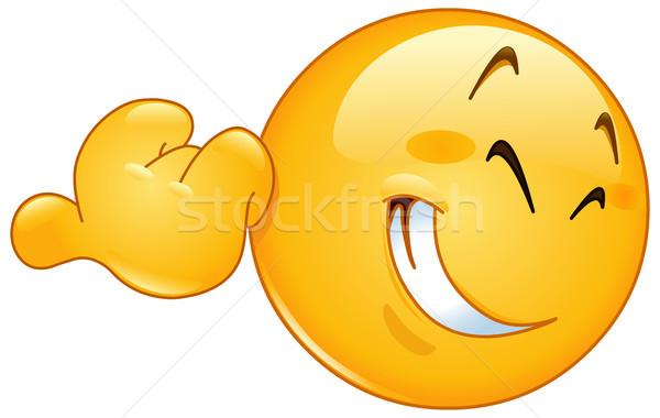 указывая большой палец руки смайлик улыбаясь улыбка счастливым Сток-фото © yayayoyo