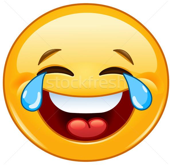 Emoticon lágrimas alegría riendo signo triste Foto stock © yayayoyo
