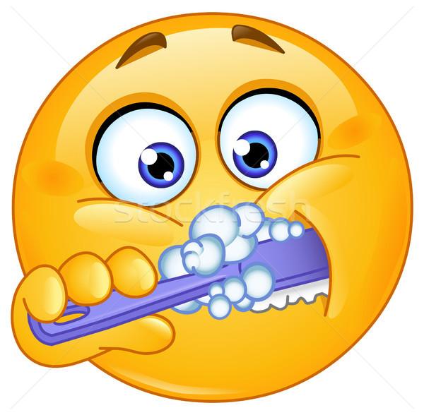 Emoticon brushing teeth Stock photo © yayayoyo