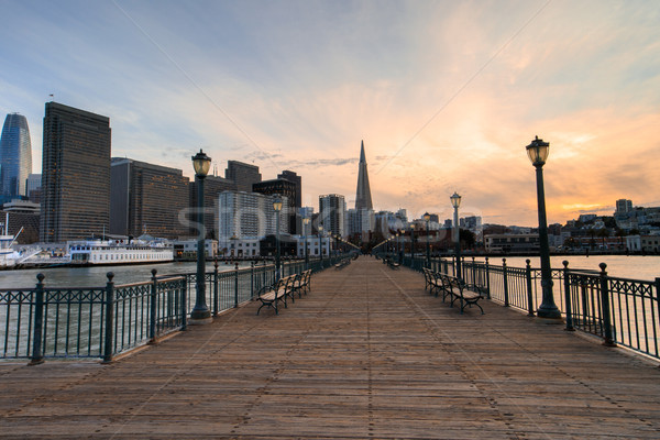 San Francisco skyline zonsondergang pier Californië USA Stockfoto © yhelfman