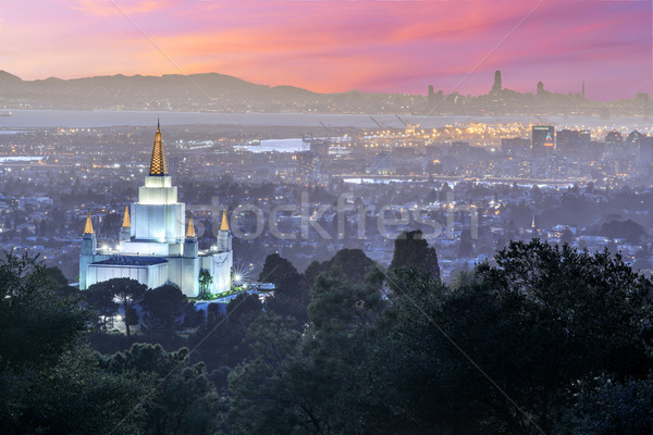 Oakland Temple and City from Oakland Hills. Stock photo © yhelfman