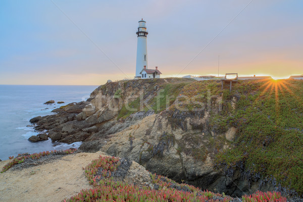 Sunset over Pigeon Point Lighthouse, Pescadero, California, USA Stock photo © yhelfman