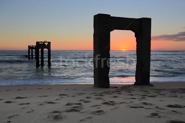 пирс пляж закат заброшенный зима Сток-фото © yhelfman