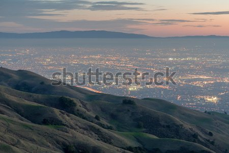 Silicon Valley and Rolling Hills at Dusk. Mission Peak Regional Preserve, Fremont, California, USA. Stock photo © yhelfman