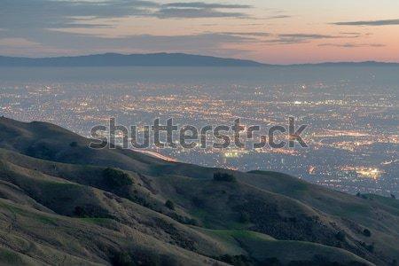 Silikon vadi tepeler akşam karanlığı misyon Stok fotoğraf © yhelfman