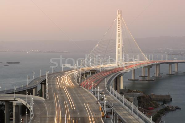 Köprü doğu akşam karanlığı ada su karayolu Stok fotoğraf © yhelfman