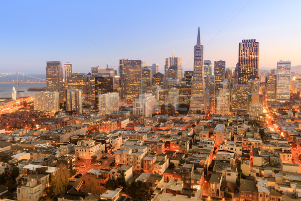 Dusk over San Francisco Downtown. Stock photo © yhelfman