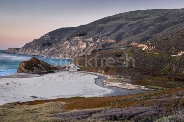 Sunset over Little Sur River, Big Sur, California Stock photo © yhelfman