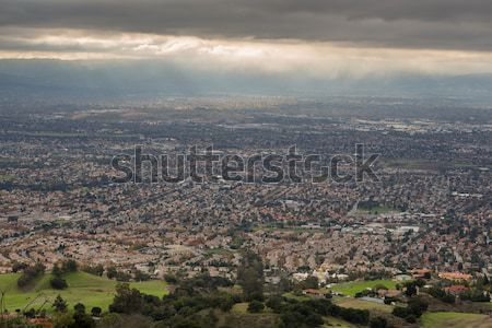 Aerial View of the Silicon Valley, Green Countryside, and Ominous Sky Stock photo © yhelfman