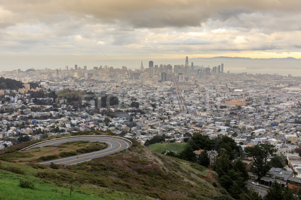 Winter sunset over San Francisco from Twin Peaks Stock photo © yhelfman