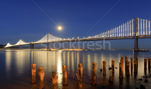 Pont pleine lune crépuscule San Francisco Californie Photo stock © yhelfman