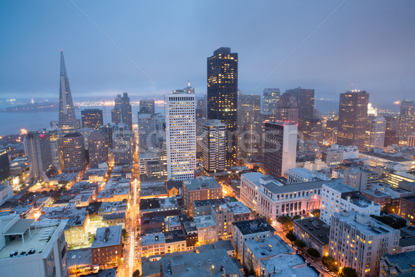 Aerial Views of San Francisco Financial District from Nob Hill, Dusk Stock photo © yhelfman