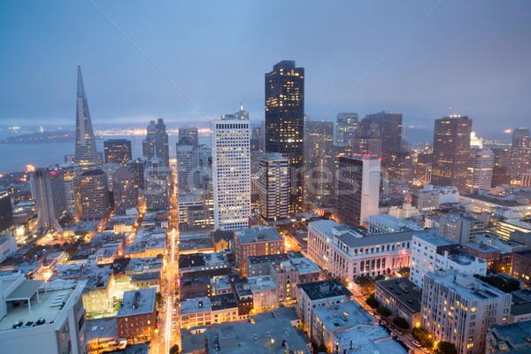 Antenne San Francisco heuvel schemering mistig Stockfoto © yhelfman