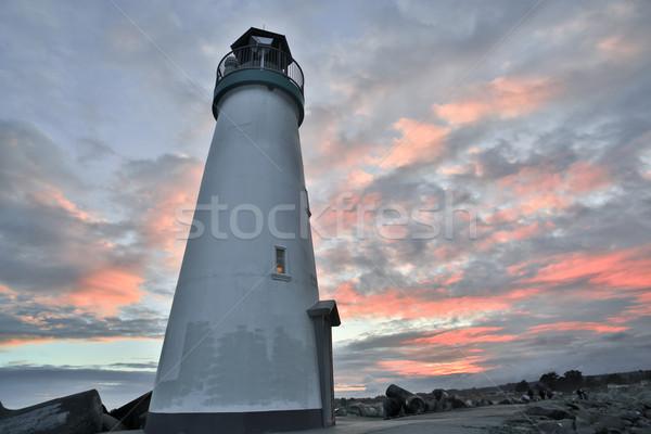 Sunset over Breakwater (Walton) Lighthouse, Santa Cruz, California Stock photo © yhelfman