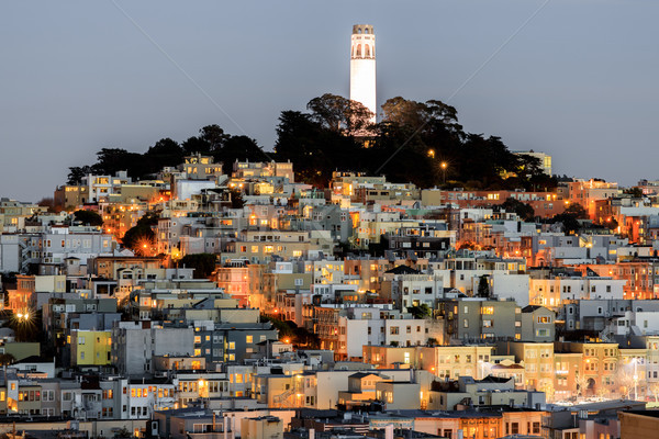 Coit Tower on Telegraph Hill as seen from Russian Hill at Dusk. Stock photo © yhelfman
