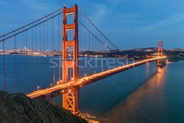 Golden Gate Bridge San Francisco linha do horizonte bateria Califórnia EUA Foto stock © yhelfman