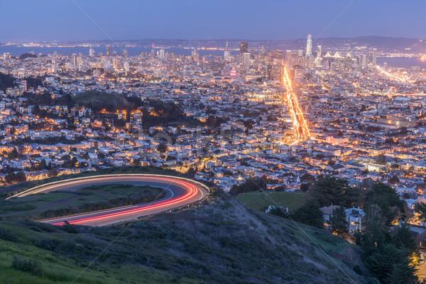 San Francisco panorama akşam görmek şehir merkezinde ofis Stok fotoğraf © yhelfman