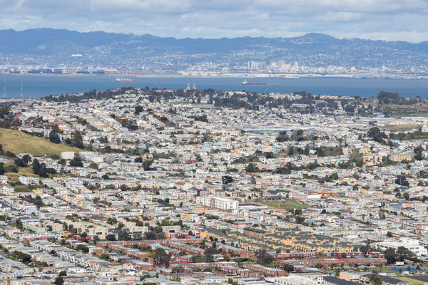 Aerial View of Daly City and Brisbane from San Bruno Mountain State Park. Stock photo © yhelfman