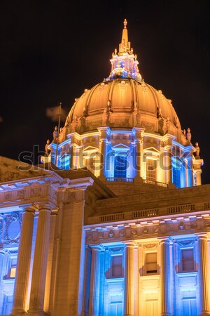 Stock photo: San Francisco City Hall in Golden State Warriors Colors.