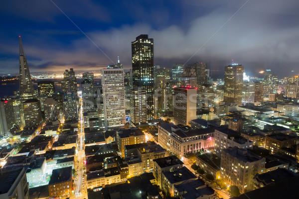 антенна Сан-Франциско Финансовый район холме сумерки туманный Сток-фото © yhelfman