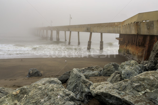 Pacifica Municipal Pier in Fog. Stock photo © yhelfman