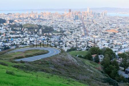San Francisco centro da cidade panorama panorâmico gêmeo céu Foto stock © yhelfman