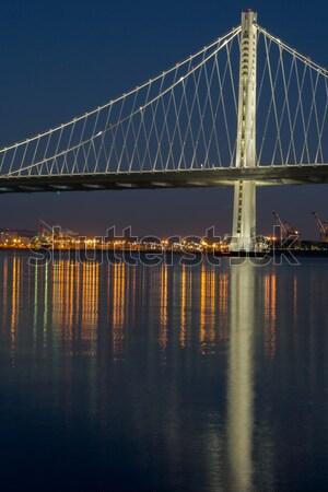 új híd szárny éjszaka megvilágított víz Stock fotó © yhelfman