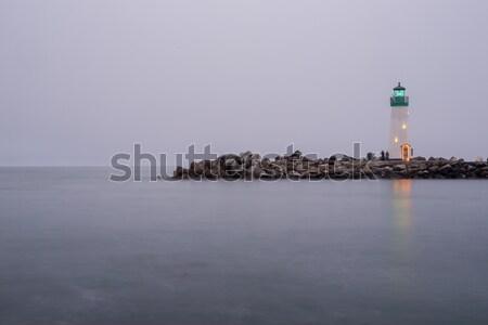 Stock photo: Dusk over Breakwater (Walton) Lighthouse, Santa Cruz, California