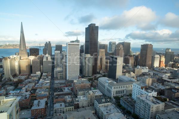 Légi San Francisco pénzügyi negyed domb naplemente belváros Stock fotó © yhelfman