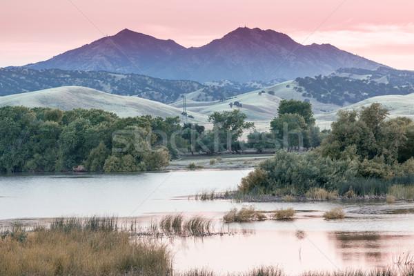Mount Diablo Sunset from Marsh Creek Reservoir. Stock photo © yhelfman