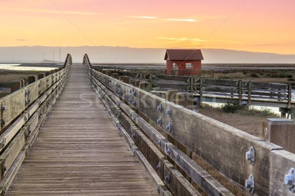Wooden Bridge and Log Cabin Landscape Stock photo © yhelfman
